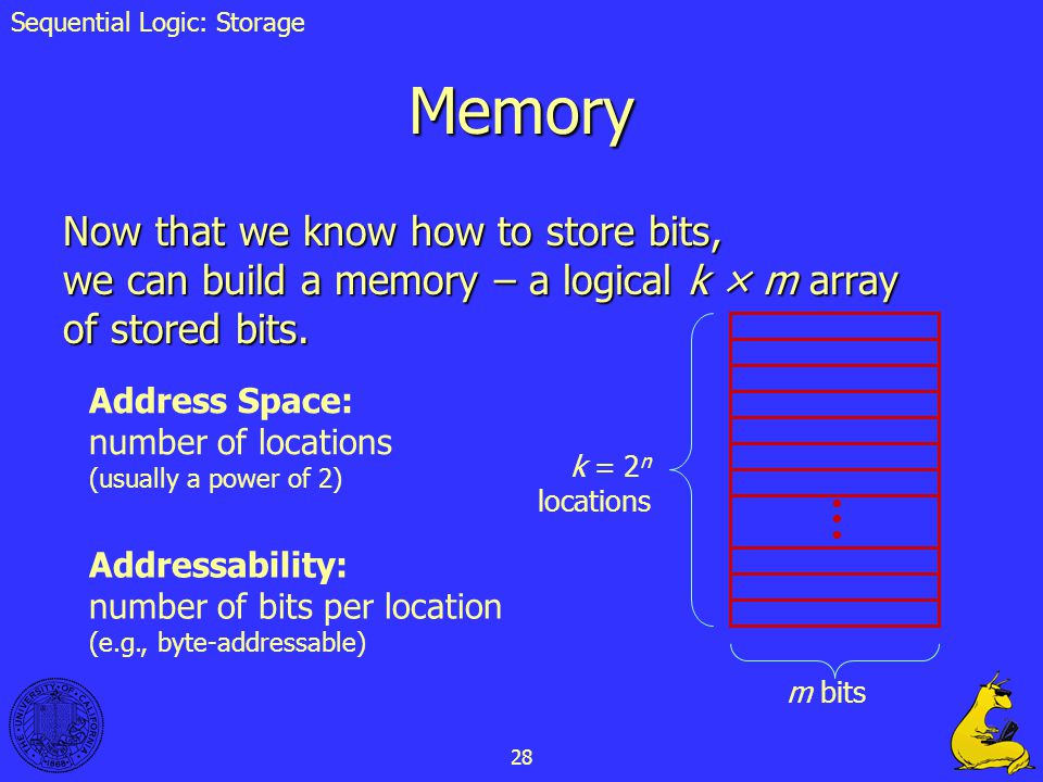 28 Memory Now that we know how to store bits, we can build a memory – a logical k × m array of stored bits. k = 2 n locations m bits Address Space: nu