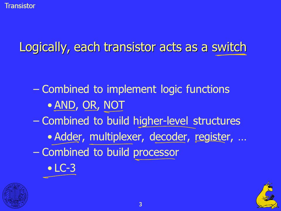 3 Logically, each transistor acts as a switch –Combined to implement logic functions AND, OR, NOT –Combined to build higher-level structures Adder, mu