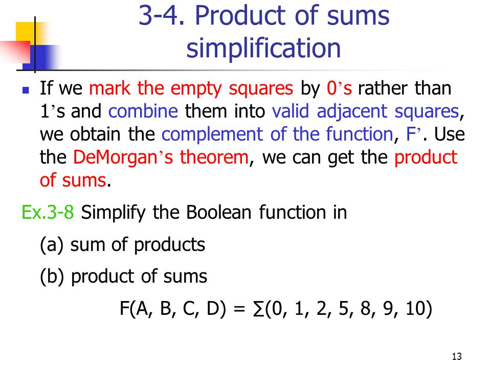 13 3-4. Product of sums simplification If we mark the empty squares by 0 s rather than 1 s and combine them into valid adjacent squares, we obtain the