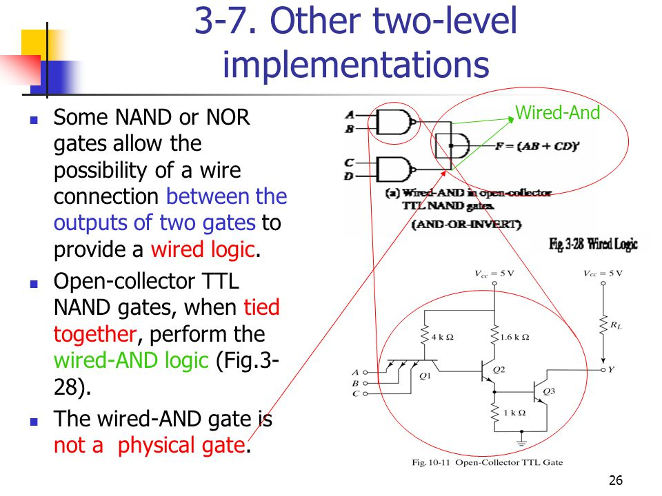26 3-7. Other two-level implementations Some NAND or NOR gates allow the possibility of a wire connection between the outputs of two gates to provide