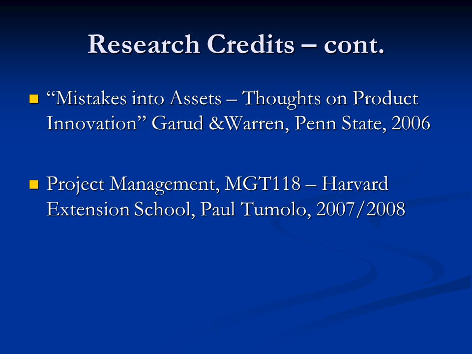 Research Credits – cont.
