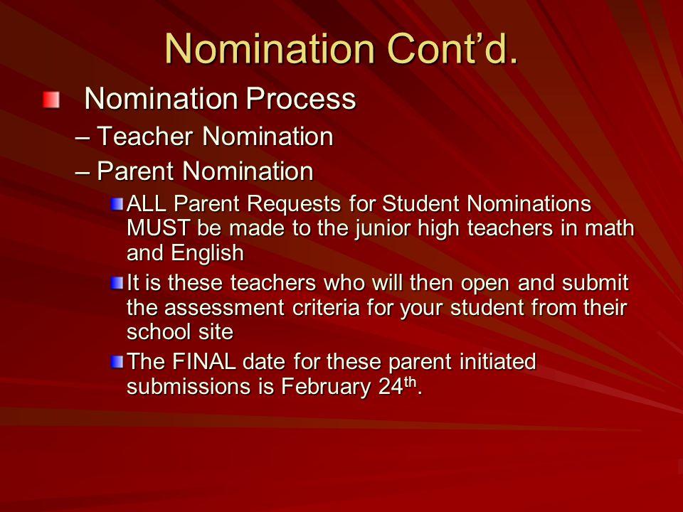 Nomination Contd.