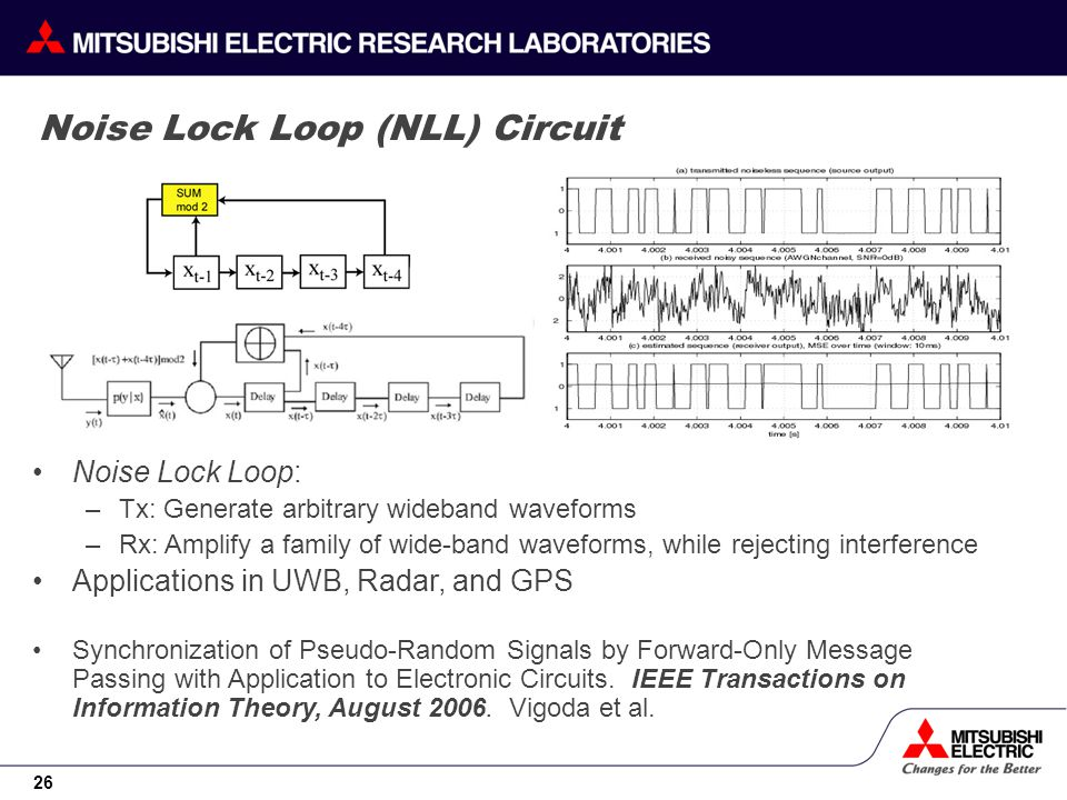 26 Noise Lock Loop (NLL) Circuit Noise Lock Loop: –Tx: Generate arbitrary wideband waveforms –Rx: Amplify a family of wide-band waveforms, while rejecting interference Applications in UWB, Radar, and GPS Synchronization of Pseudo-Random Signals by Forward-Only Message Passing with Application to Electronic Circuits.