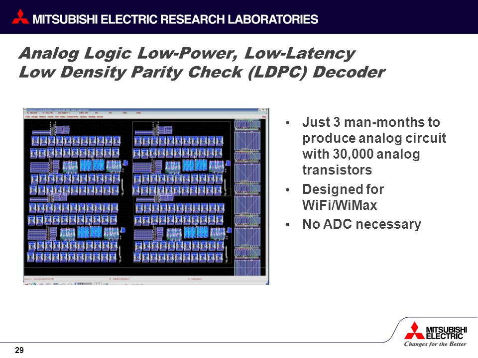 29 Analog Logic Low-Power, Low-Latency Low Density Parity Check (LDPC) Decoder Just 3 man-months to produce analog circuit with 30,000 analog transist