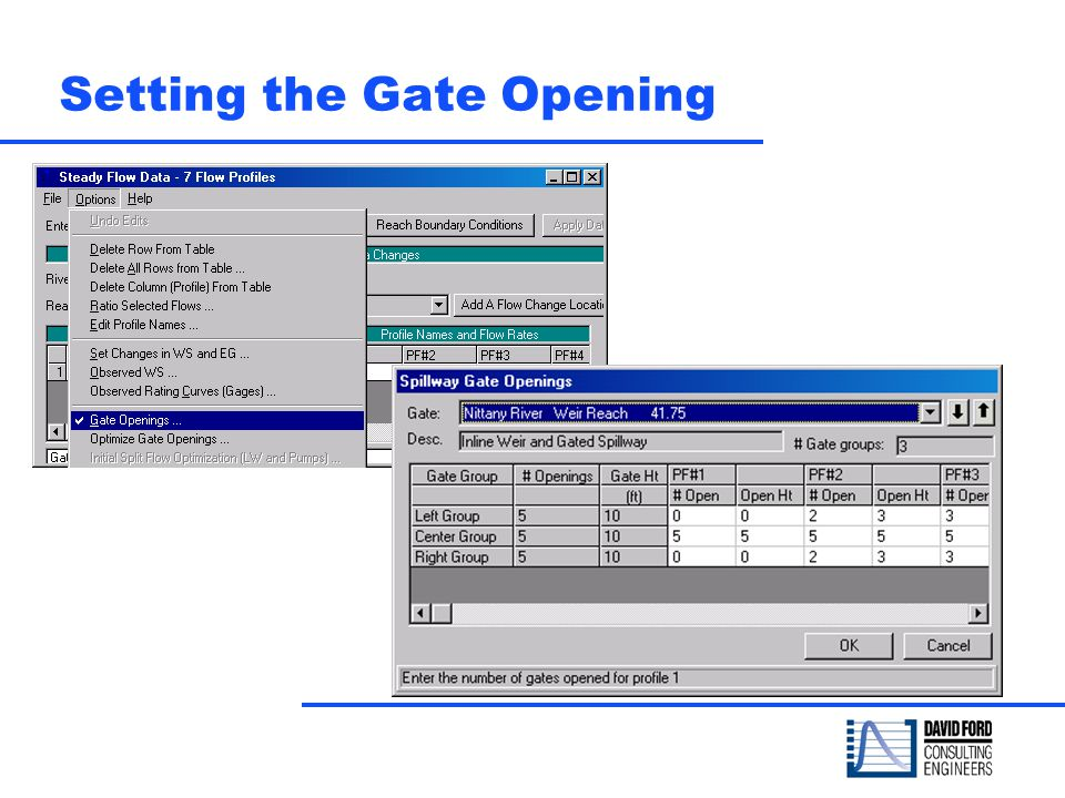 Setting the Gate Opening
