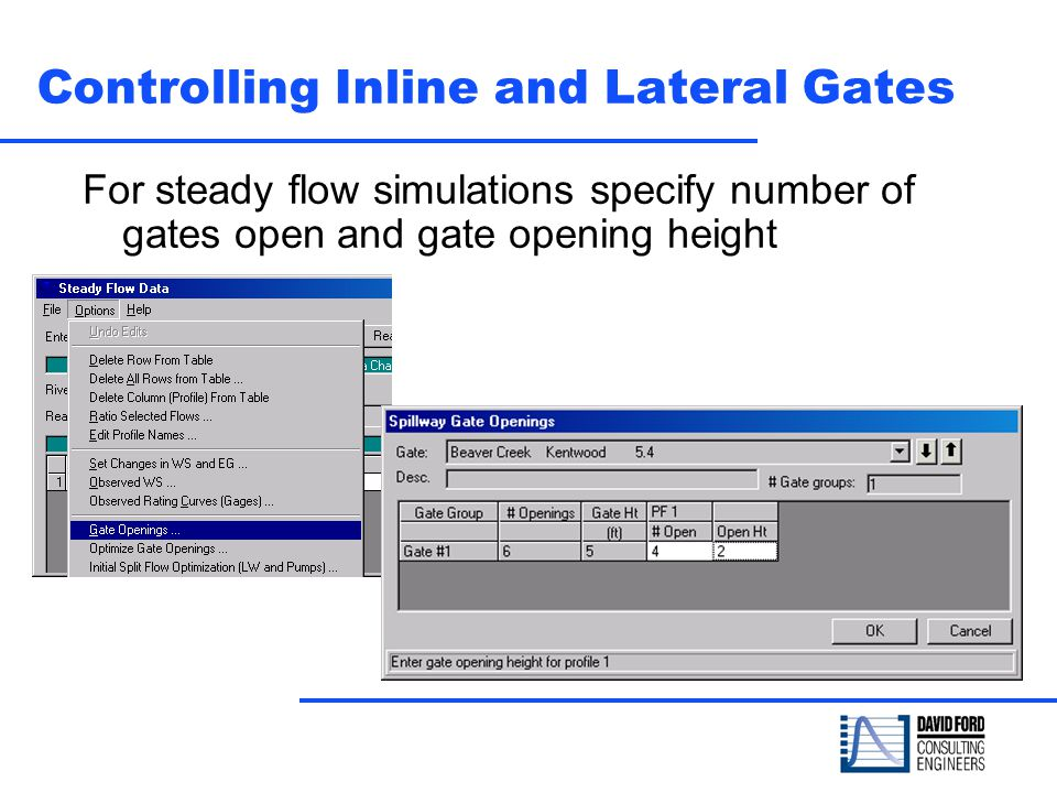 Controlling Inline and Lateral Gates For steady flow simulations specify number of gates open and gate opening height