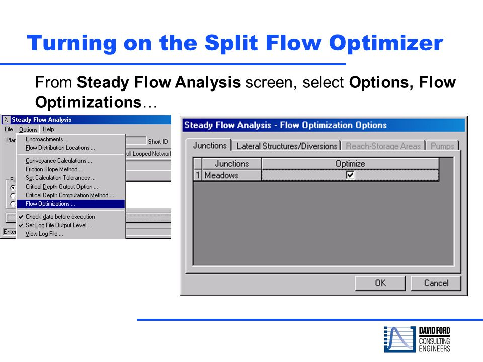 Turning on the Split Flow Optimizer From Steady Flow Analysis screen, select Options, Flow Optimizations…