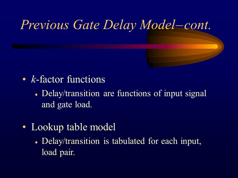 Conclusion Independent of gate load.Can be pre-characterized.