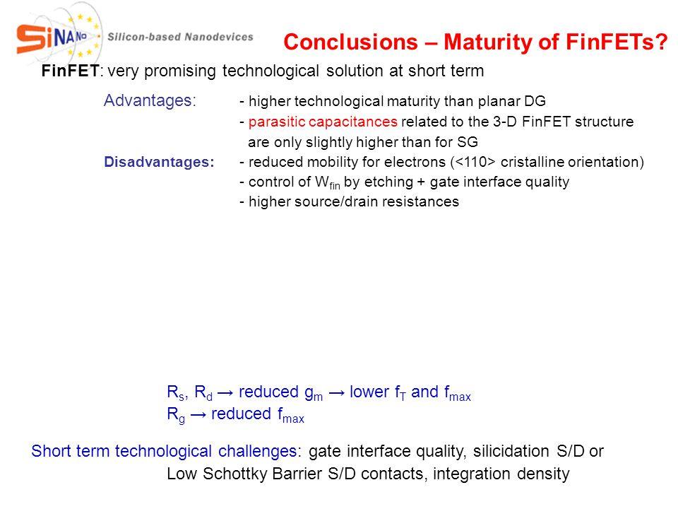 FinFET: very promising technological solution at short term Advantages: - higher technological maturity than planar DG - parasitic capacitances relate