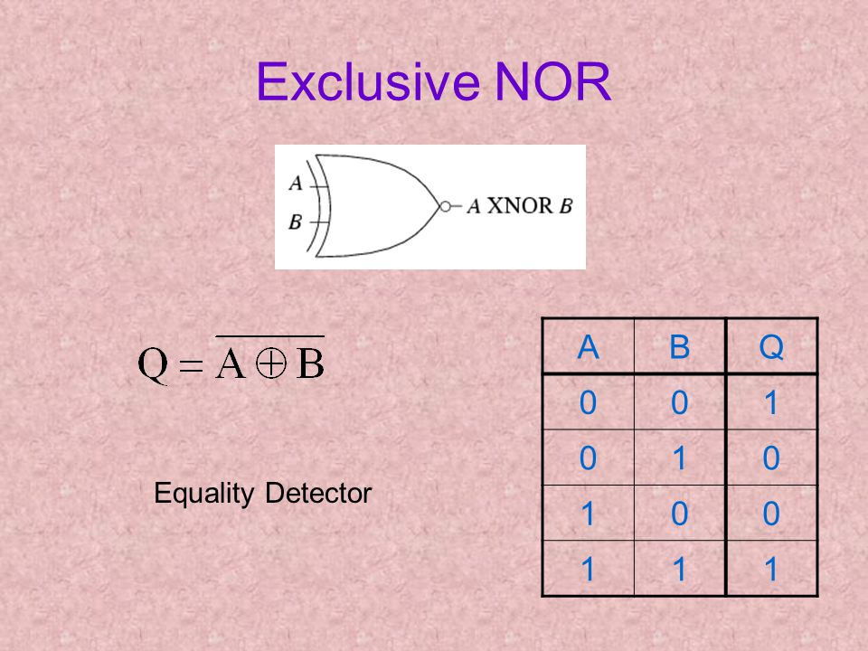 Exclusive NOR ABQ 001 010 100 111 Equality Detector