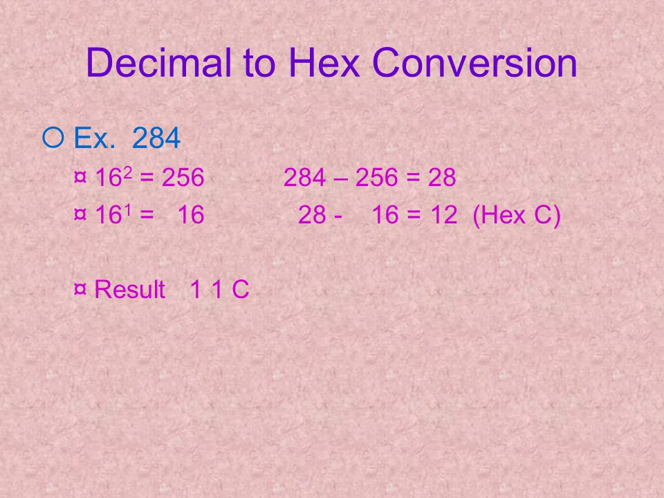 Decimal to Hex Conversion ¡ Ex.