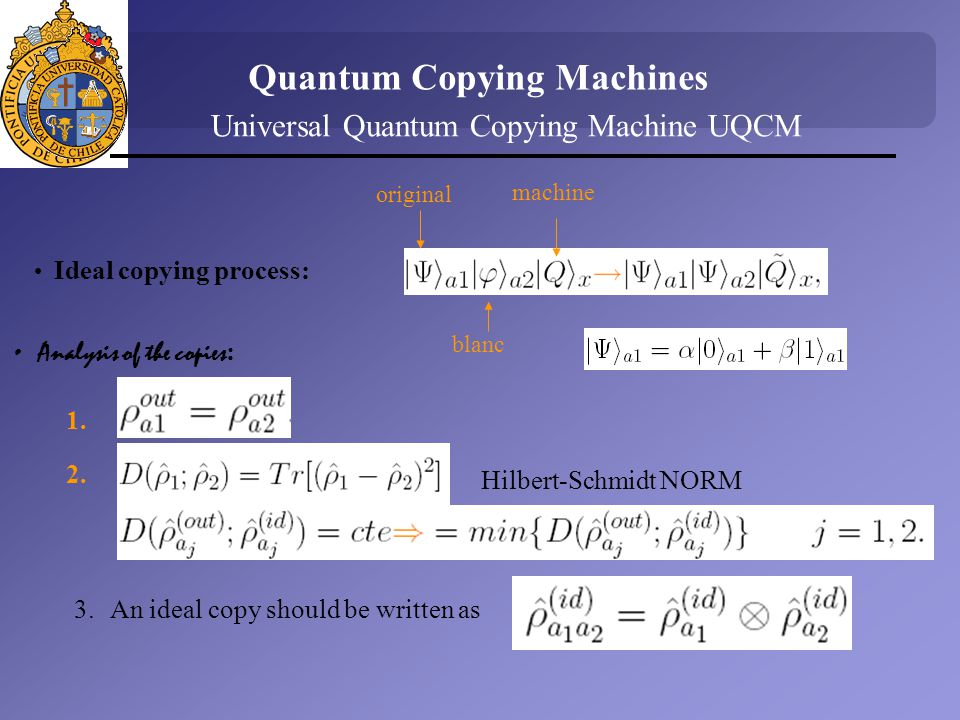 Universal Quantum Copying Machine UQCM Ideal copying process: Analysis of the copies : Quantum Copying Machines 1.
