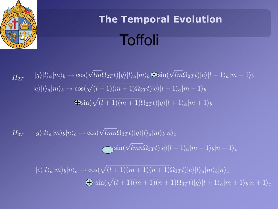 The Temporal Evolution Toffoli - + - +