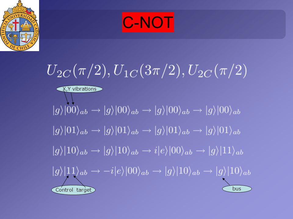 C-NOT Control target X,Y vibrations bus