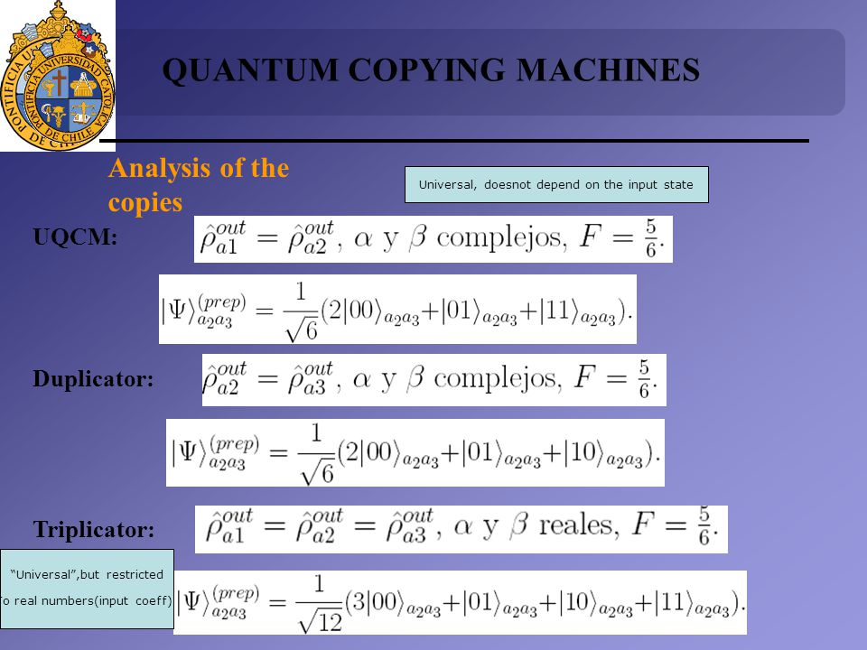 UQCM: Duplicator: Triplicator: QUANTUM COPYING MACHINES Analysis of the copies Universal, doesnot depend on the input state Universal,but restricted To real numbers(input coeff)