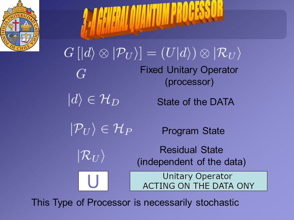 Fixed Unitary Operator (processor) State of the DATA Program State Residual State (independent of the data) This Type of Processor is necessarily stochastic U Unitary Operator ACTING ON THE DATA ONY