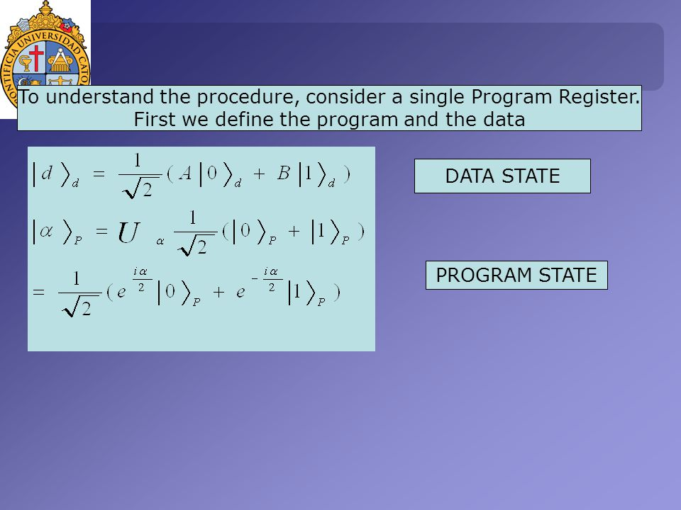 To understand the procedure, consider a single Program Register.