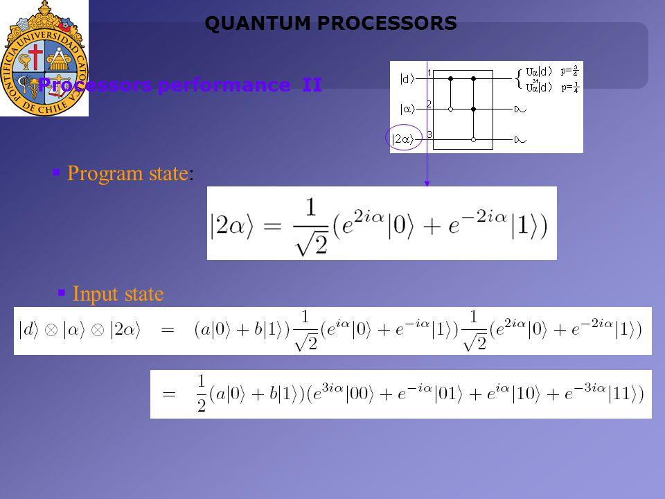 Program state: QUANTUM PROCESSORS Processors performance II Input state
