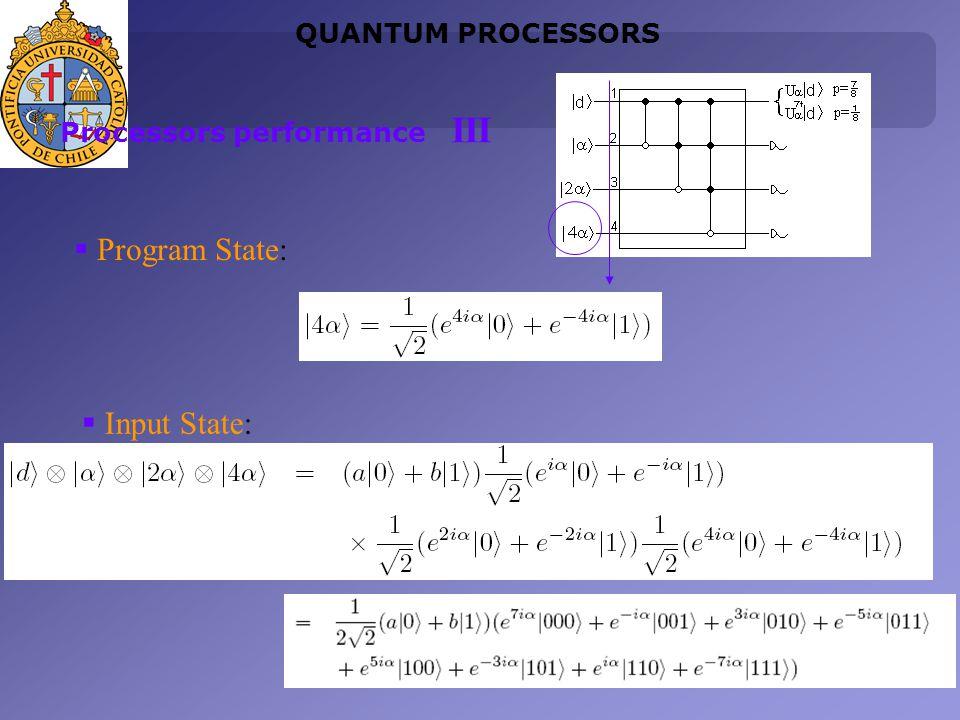 Program State: Input State: QUANTUM PROCESSORS Processors performance III