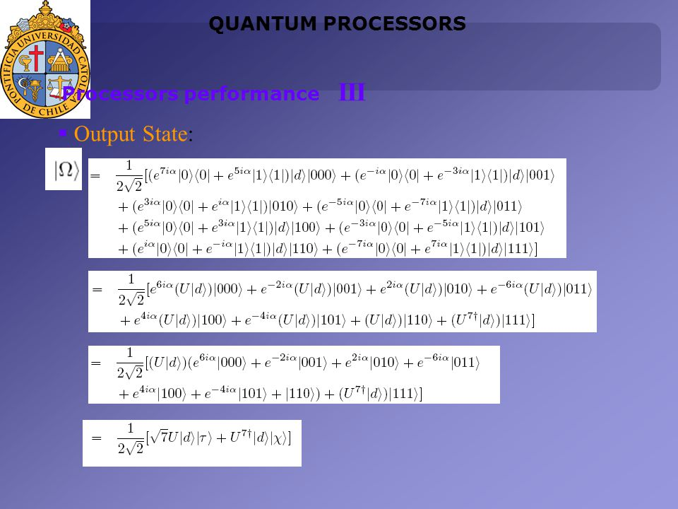 Output State: QUANTUM PROCESSORS Processors performance III