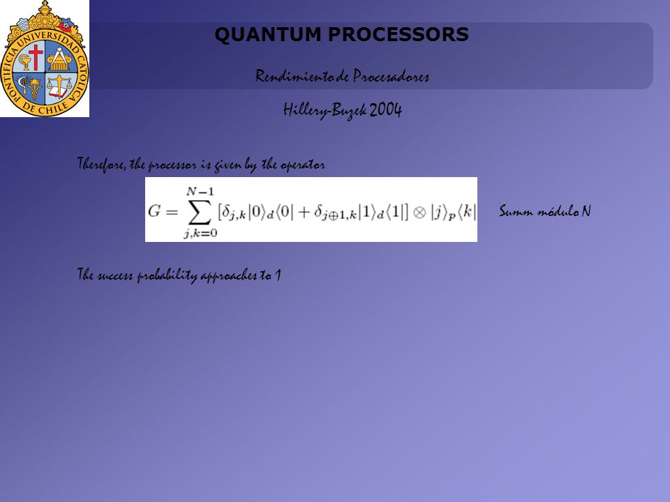 QUANTUM PROCESSORS Rendimiento de Procesadores Hillery-Buzek 2004 Therefore, the processor is given by the operator Summ módulo N The success probability approaches to 1
