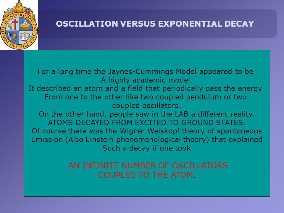 OSCILLATION VERSUS EXPONENTIAL DECAY For a long time the Jaynes-Cummings Model appeared to be A highly academic model.