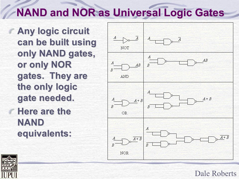 Dale Roberts NAND and NOR as Universal Logic Gates Any logic circuit can be built using only NAND gates, or only NOR gates.