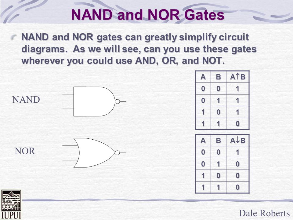 Dale Roberts NAND and NOR Gates NAND and NOR gates can greatly simplify circuit diagrams.