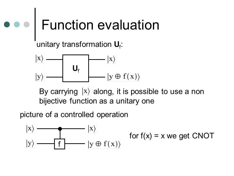 Function evaluation unitary transformation U f : UfUf By carrying along, it is possible to use a non bijective function as a unitary one picture of a controlled operation f for f(x) = x we get CNOT