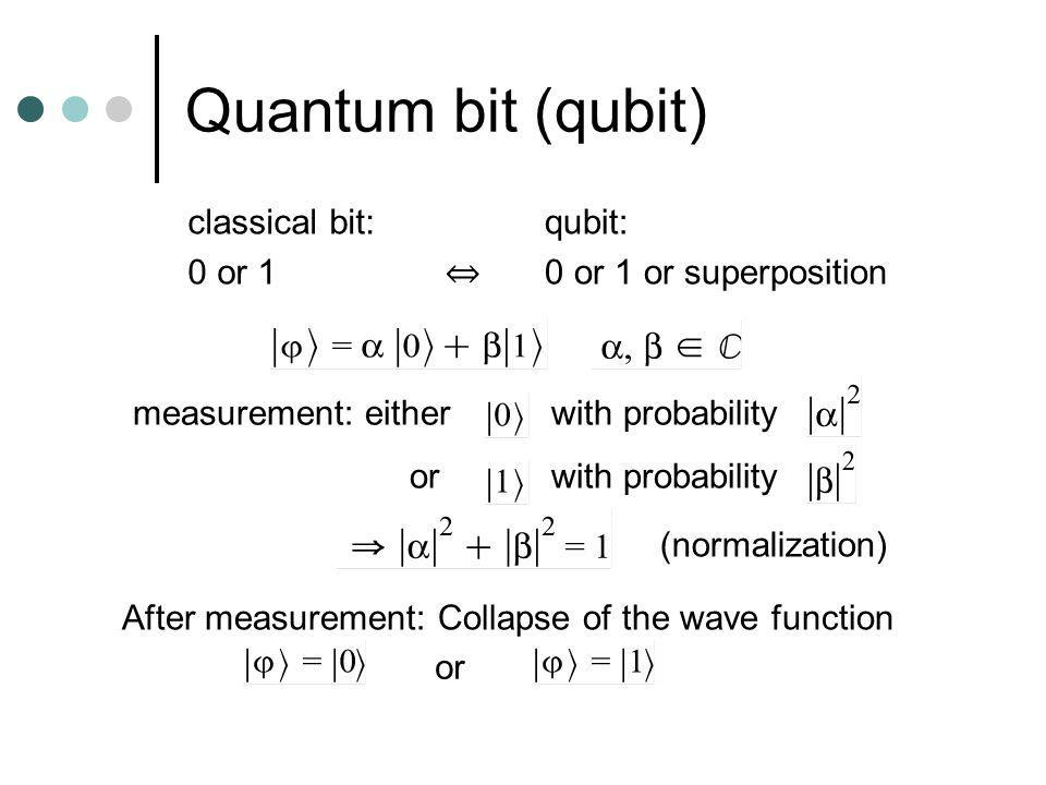 Quantum bit (qubit) classical bit: 0 or 1 qubit: 0 or 1 or superposition measurement: either with probability orwith probability (normalization) After measurement: Collapse of the wave function or