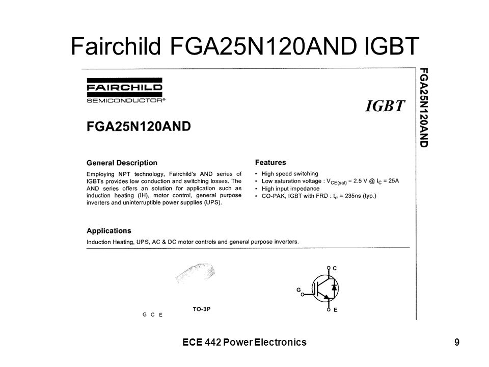 ECE 442 Power Electronics9 Fairchild FGA25N120AND IGBT