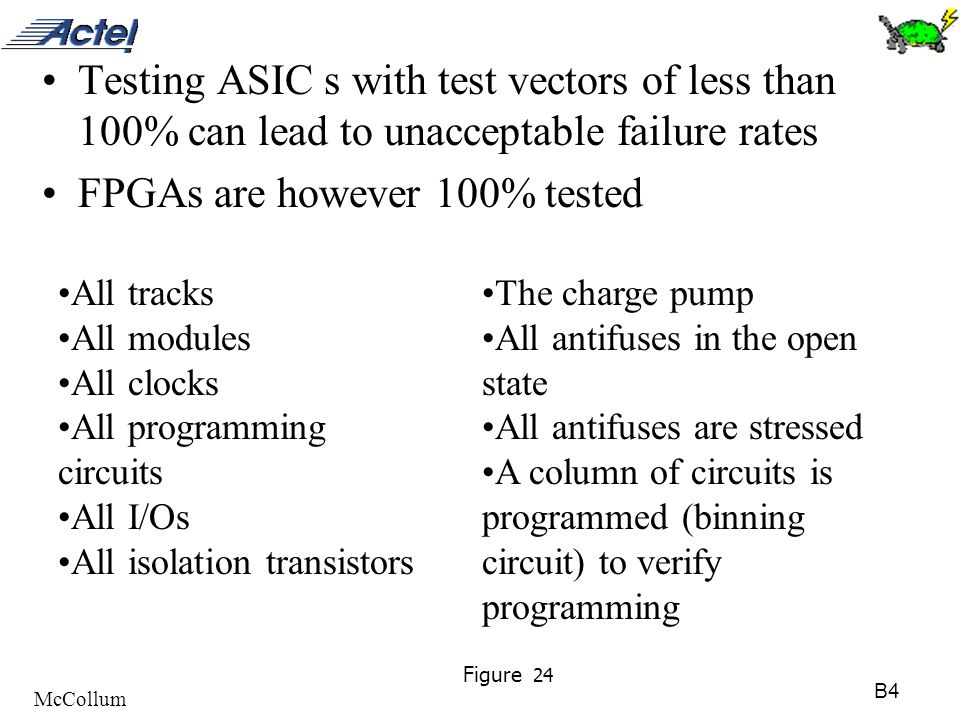 B4 McCollum Figure 24 Testing ASIC s with test vectors of less than 100% can lead to unacceptable failure rates FPGAs are however 100% tested All trac