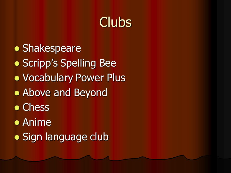 Clubs Shakespeare Shakespeare Scripps Spelling Bee Scripps Spelling Bee Vocabulary Power Plus Vocabulary Power Plus Above and Beyond Above and Beyond