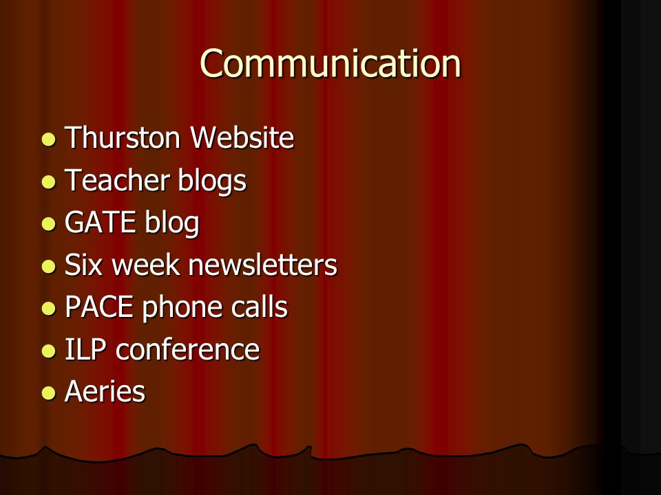 Communication Thurston Website Thurston Website Teacher blogs Teacher blogs GATE blog GATE blog Six week newsletters Six week newsletters PACE phone calls PACE phone calls ILP conference ILP conference Aeries Aeries