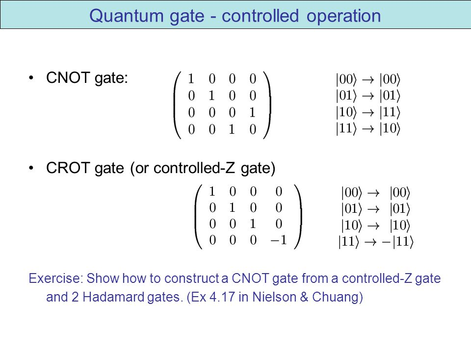 Quantum gate - controlled operation CNOT gate: CROT gate (or controlled-Z gate) Exercise: Show how to construct a CNOT gate from a controlled-Z gate and 2 Hadamard gates.