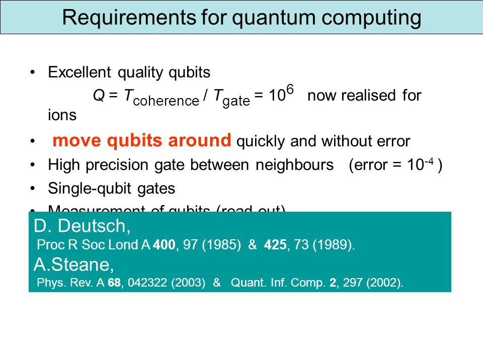 Requirements for quantum computing Excellent quality qubits Q = T coherence / T gate = 10 6 now realised for ions move qubits around quickly and without error High precision gate between neighbours (error = 10 -4 ) Single-qubit gates Measurement of qubits (read out) D.