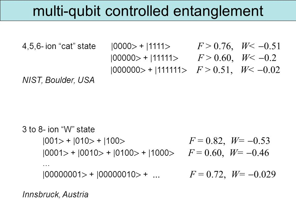 multi-qubit controlled entanglement 4,5,6- ion cat state |0000 + |1111 F > 0.76, W< 0.51 |00000 + |11111 F > 0.60, W< 0.2 |000000 + |111111 F > 0.51, W< 0.02 NIST, Boulder, USA 3 to 8- ion W state |001 + |010 + |100 F = 0.82, W= 0.53 |0001 + |0010 + |0100 + |1000 F = 0.60, W= 0.46...