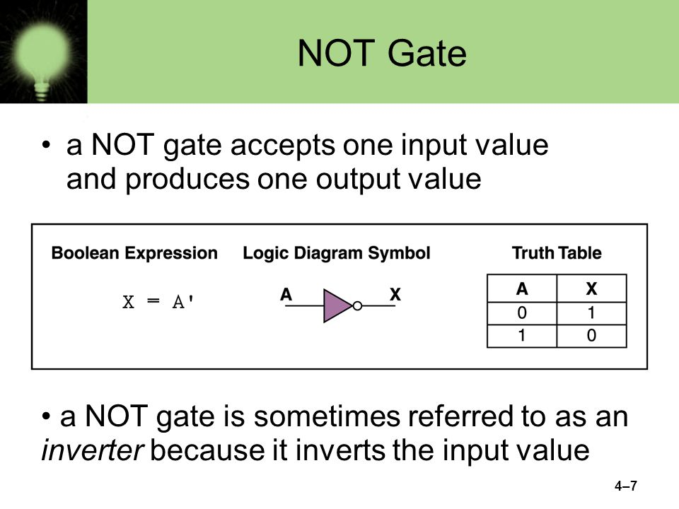 4–7 NOT Gate a NOT gate accepts one input value and produces one output value a NOT gate is sometimes referred to as an inverter because it inverts the input value