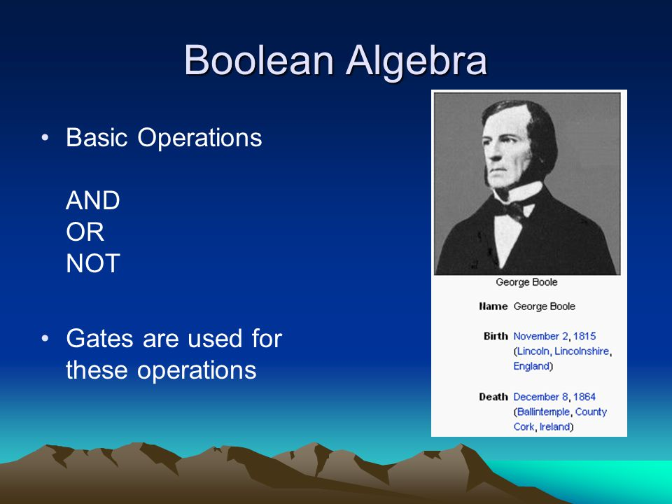 Boolean Algebra Basic Operations AND OR NOT Gates are used for these operations