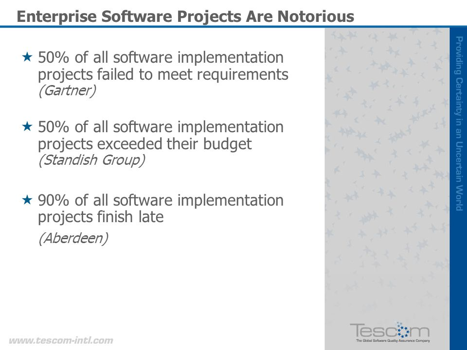 Enterprise Software Projects Are Notorious 50% of all software implementation projects failed to meet requirements (Gartner) 50% of all software implementation projects exceeded their budget (Standish Group) 90% of all software implementation projects finish late (Aberdeen)