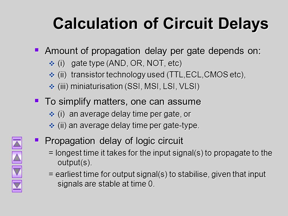 Calculation of Circuit Delays Amount of propagation delay per gate depends on: Amount of propagation delay per gate depends on: (i) gate type (AND, OR