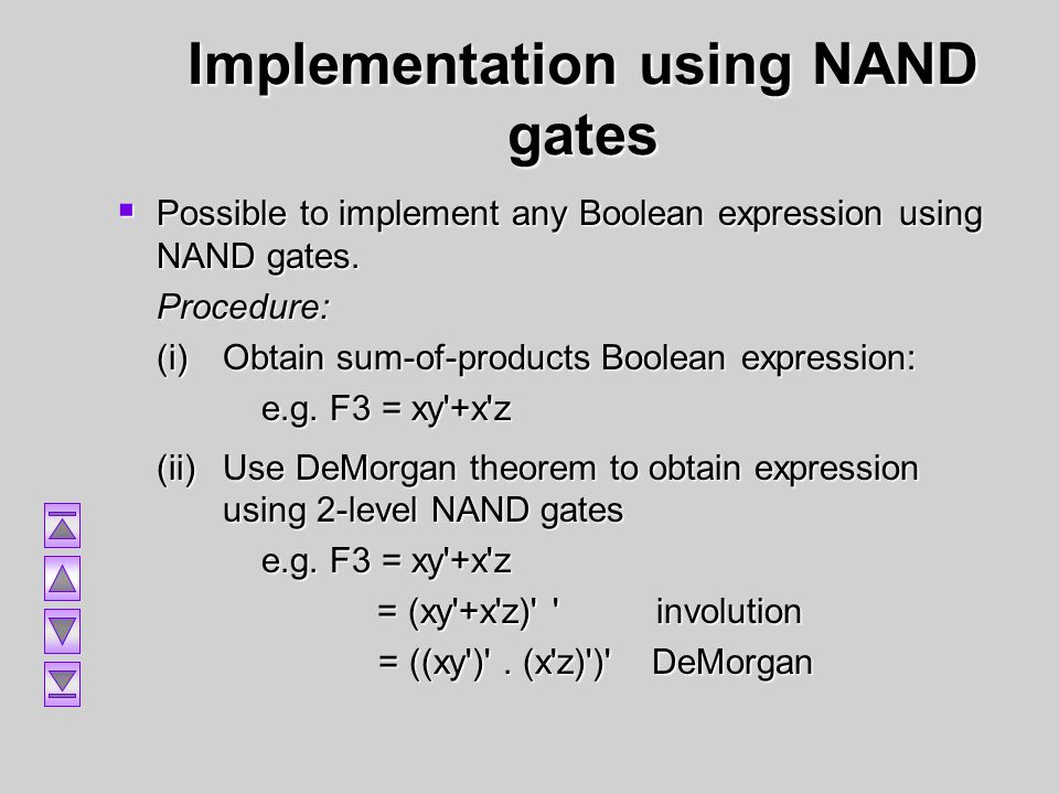 Implementation using NAND gates Possible to implement any Boolean expression using NAND gates. Possible to implement any Boolean expression using NAND