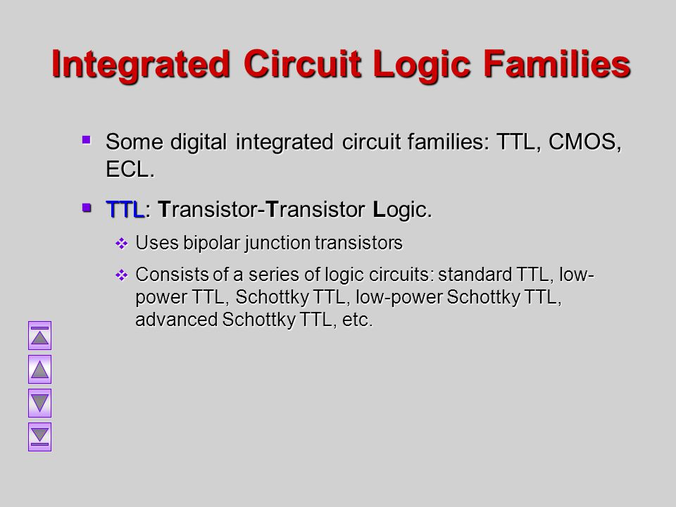 Integrated Circuit Logic Families Some digital integrated circuit families: TTL, CMOS, ECL. Some digital integrated circuit families: TTL, CMOS, ECL.