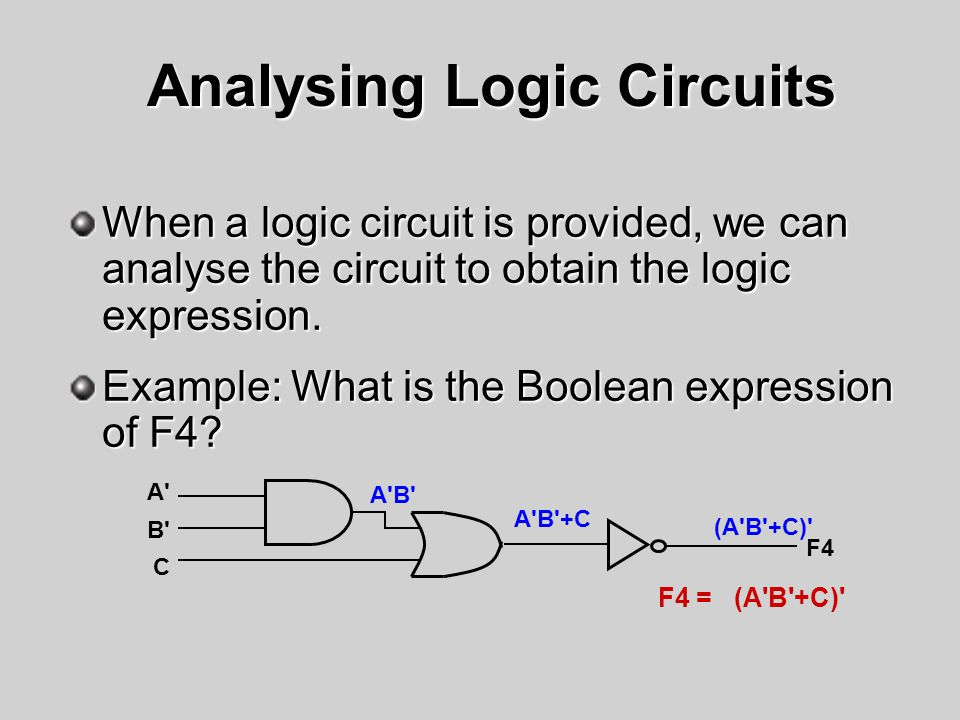 Analysing Logic Circuits When a logic circuit is provided, we can analyse the circuit to obtain the logic expression. Example: What is the Boolean exp