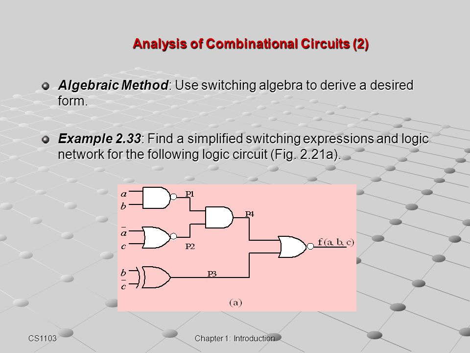CS1103Chapter 1: Introduction Analysis of Combinational Circuits (2) Algebraic Method: Use switching algebra to derive a desired form. Example 2.33: F