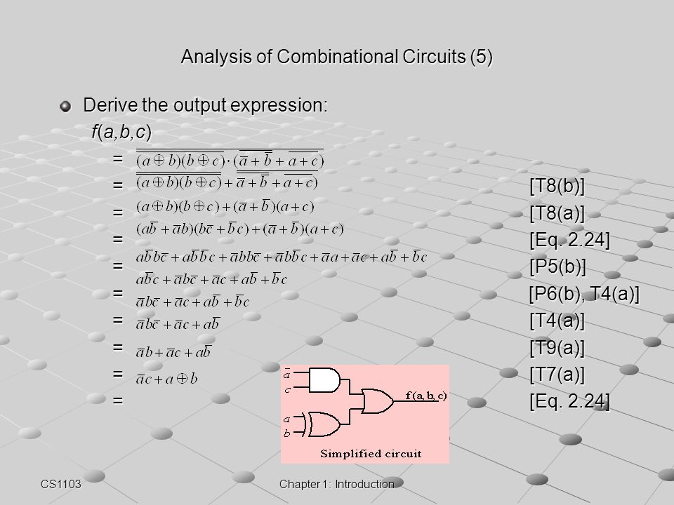 CS1103Chapter 1: Introduction Analysis of Combinational Circuits (5) Derive the output expression: f(a,b,c) = =[T8(b)] =[T8(a)] =[Eq. 2.24] =[P5(b)] =