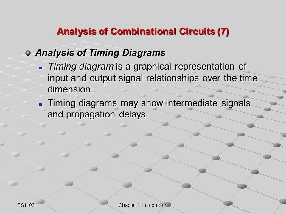 CS1103Chapter 1: Introduction Analysis of Combinational Circuits (7) Analysis of Timing Diagrams Timing diagram is a graphical representation of input