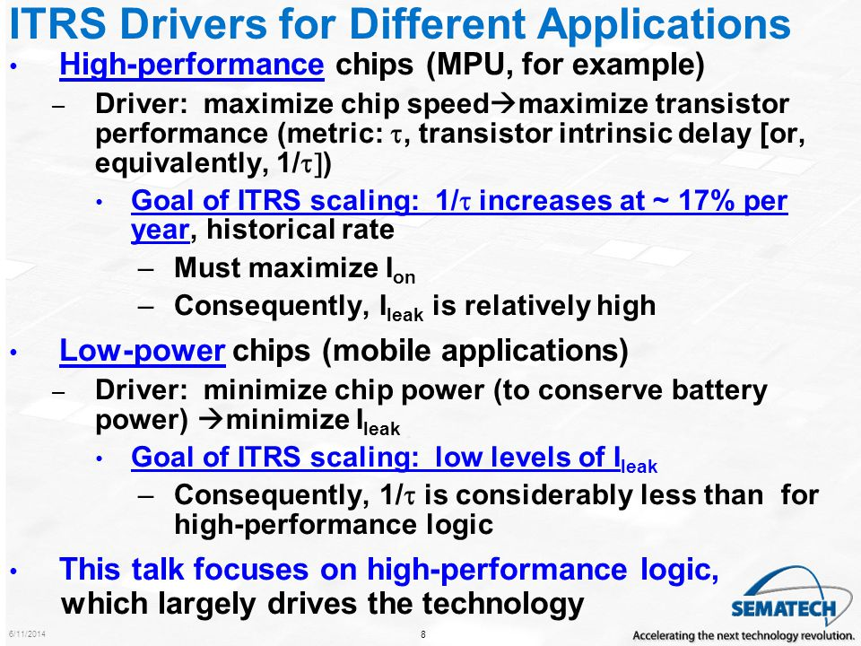 6/11/2014 9 1/ and I sd,leak scaling for High-Performance and Low- Power Logic.