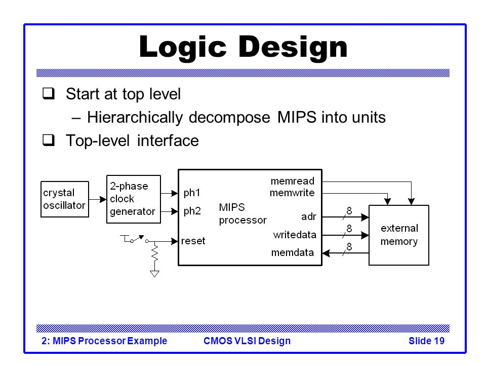 CMOS VLSI Design2: MIPS Processor ExampleSlide 19 Logic Design Start at top level –Hierarchically decompose MIPS into units Top-level interface