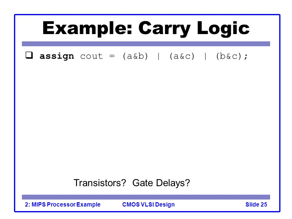 CMOS VLSI Design2: MIPS Processor ExampleSlide 25 Example: Carry Logic assign cout = (a&b) | (a&c) | (b&c); Transistors.